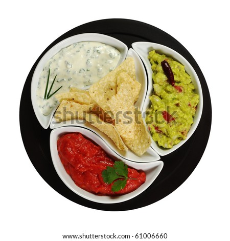 Mexican tacos with three different dips (guacamole, tomato-chili, cream cheese dip) on dark plate isolated on white - stock photo