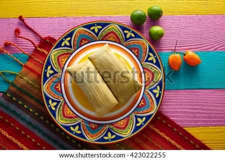Mexican tamale tamales of corn leaves with chili and sauces stock