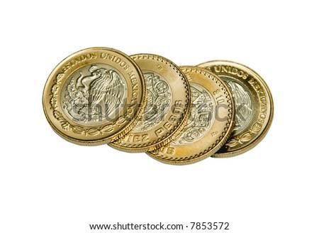 Mexican ten peso coins isolation - stock photo