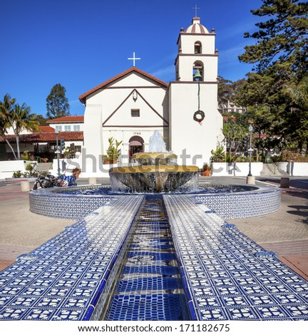 Mexican Tile Fountain Mission San Buenaventura Ventura California.  Founded 1782 by  Father Junipero Serra.  Named for Saint Bonaventure - stock photo
