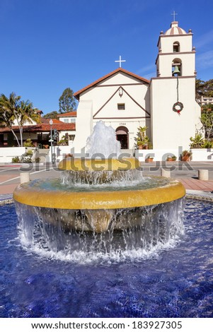 Mexican Tile Fountain Serra Statue Mission San Buenaventura Ventura California.  Founded 1782 by  Father Junipero Serra.  Named for Saint Bonaventure - stock photo