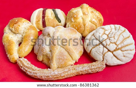 Mexican Traditional Sweet Bread Such as Churro, Concha, Cuerno, Pan de Muerto And Pan de Reyes.