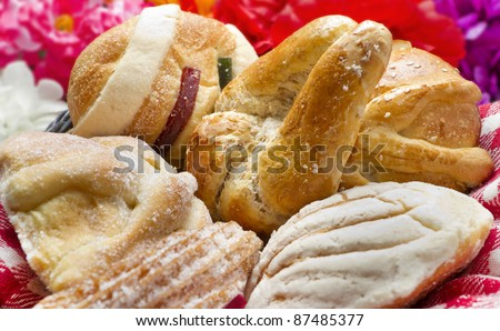 Mexican Traditional Sweet Bread such as cuerno, churro, concha, pan de muerto and pan de reyes.