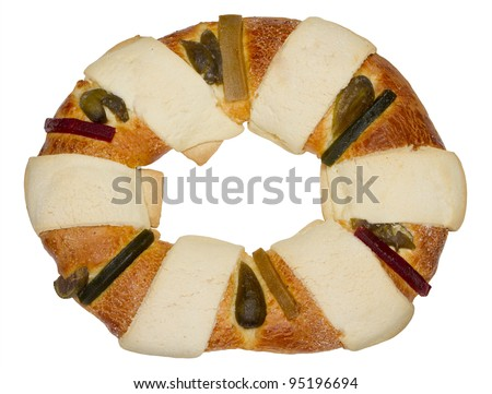Mexican Traditional Three Kings Bread Top View. Isolated on white.