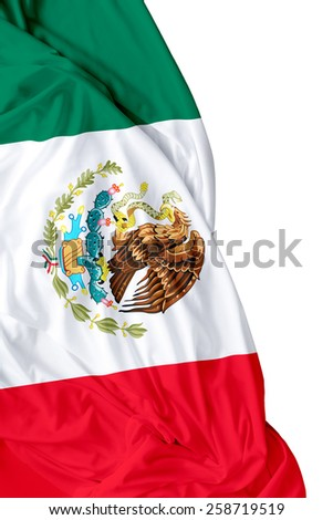 Mexican waving flag on white background - stock photo