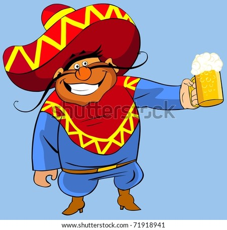 Mexican with a beer. - stock photo