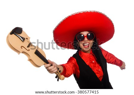 Mexican woman with violin isolated on white - stock photo