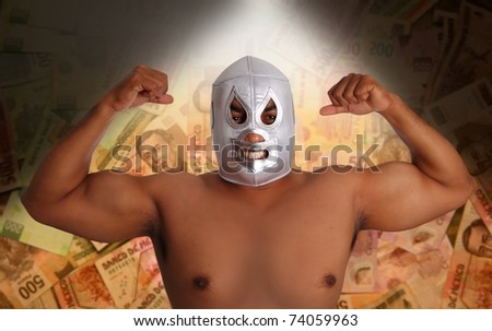 mexican wrestling mask silver fighter gesture Mexico pesos notes bet metaphor [Photo Illustration]