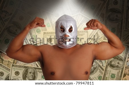 mexican wrestling mask silver fighter with aggressive gesture in dollar notes such a bet metaphor [Photo Illustration]