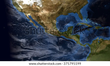 Mexico Area Map Composite (Elements of this image furnished by NASA)