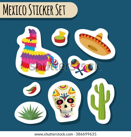 Mexico bright sticker set with national Mexican objects: sombrero, skull, agave, cactus, pinata, jalapeno peppers, maracas, guacamole and nacho chips isolated - stock photo