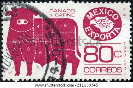 MEXICO - CIRCA 1980: a postage stamp printed in Mexico showing an image of bull with the primal cuts of mexican beef, circa 1980. - stock photo