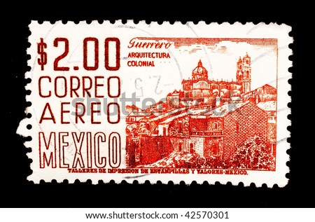 MEXICO - CIRCA 1974: A stamp printed in Bolivia shows image of colonial architecture, series, circa 1974