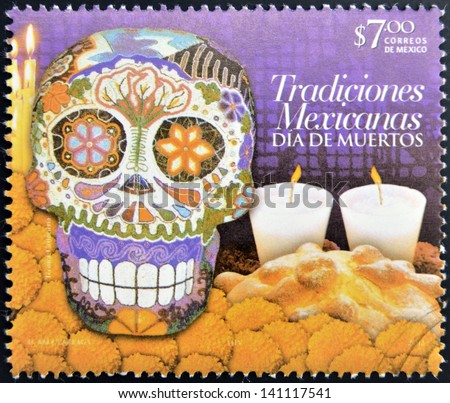 MEXICO - CIRCA 2012: A stamp printed in Mexico dedicated to Mexican traditions, showing Day of the Dead, circa 2012 - stock photo
