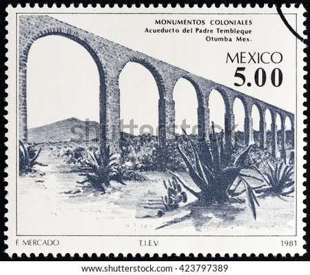 """MEXICO - CIRCA 1981: A stamp printed in Mexico from the """"Colonial Architecture """" issue shows Father Tembleque Aqueduct, Otumba, circa 1981. - stock photo"""