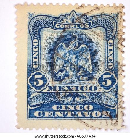 """MEXICO - CIRCA 1929: A stamp printed in Mexico shows """"5 cinco"""", series, circa 1929 - stock photo"""