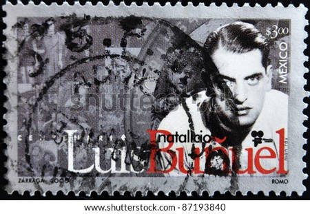 MEXICO - CIRCA 2000: A stamp printed in Mexico shows Luis Buñuel, circa 2000 - stock photo