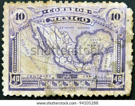 MEXICO - CIRCA 1915: A stamp printed in Mexico shows map of mexico with the rail network, circa 1915 - stock photo