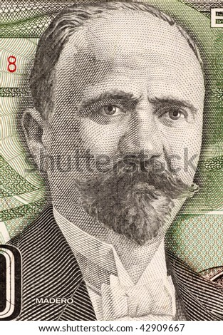 MEXICO - CIRCA 1984: Francisco Madero on 500 Pesos 1984 Banknote from Mexico. Politician, writer and revolutionary. President of Mexico during 1911-1913.