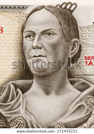 MEXICO - CIRCA 1971: Josefa Ortiz de Dominguez (1773-1829) on 5 Pesos 1971 Banknote from Mexico. Insurgent and supporter of the Mexican war of independence against Spain. - stock photo