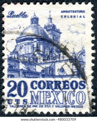 MEXICO - CIRCA 1950: Postage stamp printed in Mexico, shows the Puebla Cathedral, circa 1950