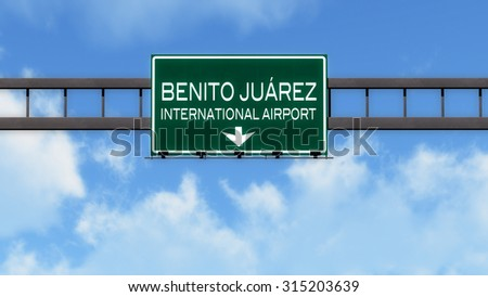 Mexico City Airport Highway Road Sign 3D Illustration