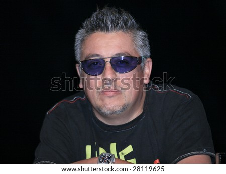"""MEXICO CITY - APRIL 6: A Spanish rock band """"The Concord"""" member attends Festival Music for the Earth Music Fest press conference shoot at El Lunario Concert Hall April 6, 2009 in Mexico City. - stock photo"""