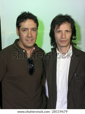 MEXICO CITY- APRIL 6 : Kerigma members Sergio (L) and Arturo at Festival Music for the Earth Music Fest press conference at El Lunario Concert Hall April 6, 2009 in Mexico City. - stock photo