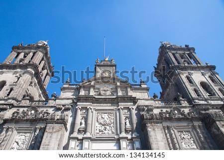 Mexico City Cathedral in the principal square of Mexico City, the Zocalo, Mexico - stock photo