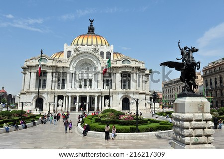MEXICO CITY - FEB 28 2010: The Fine Arts Palace (Palacio de Bellas Artes) in Mexico City, Mexico.is the most important cultural center in Mexico City as well as the rest of the country of Mexico. - stock photo