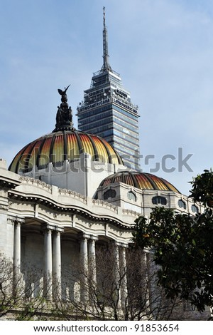 MEXICO CITY - 28 FEB 2010:Torre Latino Americana and The Fine Arts Palace buildings in Mexico City, Mexico.Latin-American Tower withstood the 1985 Mexico City earthquake without damage. - stock photo