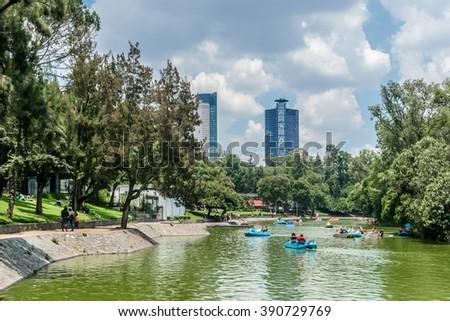 MEXICO CITY - JULY 15, 2015: View of Bosque de Chapultepec (Chapultepec Park), the biggest park in Mexico City and one of the biggest city parks in the world. The lake. - stock photo