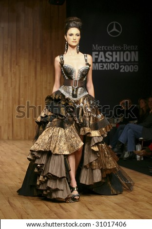 MEXICO CITY -  MAY 18: A model walks the runway wearing Alberto Rodriguez Autumn/Winter 2009 during Mercedes-Benz Fashion Mexico Autum/Winter 2009 May 18, 2009 in Mexico City. - stock photo