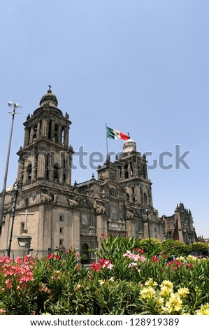 Mexico City Metropolitan Cathedral (Catedral Metropolitana de la Asuncion de Maria) is the largest and oldest cathedral in the Americas, built in 1573-1813. - stock photo