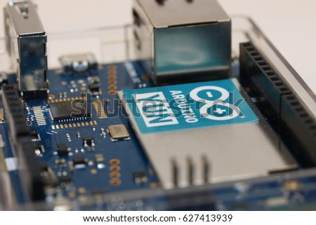 MEXICO CITY, MEXICO - APRIL 22, 2017: Photo of Arduino YUN board wireless technology