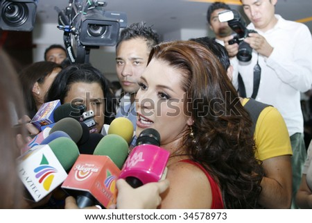 "MEXICO CITY, MEXICO- JULY 30: Venezuelan Actress  Alicia Machado attends the lauch of her new perfume ""Malice by Alicia Machado"" at W Hotel Mexico on July 30, 2009, in Mexico, City, Mexico. - stock photo"