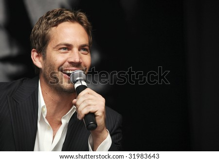 MEXICO CITY, MEXICO- MARCH 27: Actor Paul Walker attends the 'Fast & Furious' photo call  & press conference at the Marriot Hotel on March 27, 2009 in Mexico City. - stock photo