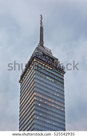 Mexico City, Mexico - November 14, 2016: View of Torre Latinoamericana ( Latin-American Tower) in Mexico City.