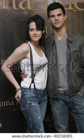 "MEXICO CITY-NOV 3: Actor Taylor Laughter & Actress Kristen Stewart attends the premiere for  ""The Twilight saga: New Moon"" Photo Call at 4 Seasons Hotel Mexico in November 3th 2009; Mexico City, Mexico. - stock photo"