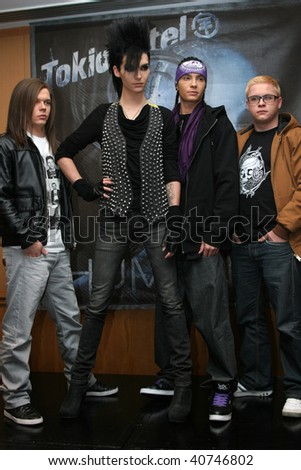 "MEXICO CITY- NOV 10: Members of German band ""Tokio Hotel"" attend the Photo-Call at Presidente Intercontinental Hotel Mexico on November 10, 2009 in Mexico City, Mexico. - stock photo"