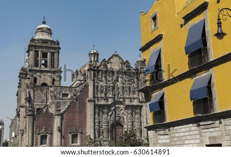 Mexico City, perspective from the street of the facade of the cathedral
