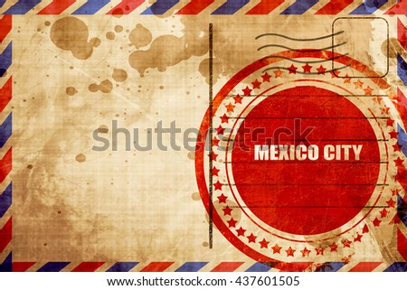 mexico city, red grunge stamp on an airmail background - stock photo