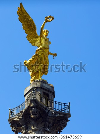 Mexico City's Independence Monument was built as part of the War of Independence centennial celebrations in 1910. - stock photo