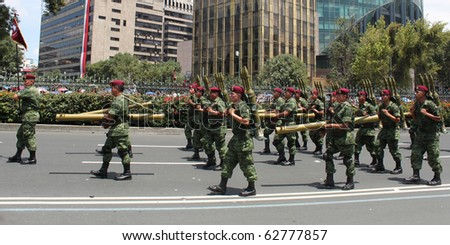 MEXICO CITY - SEPT 16: Military Parade on Avenue Reforma bicentenary. September 16, 2010. Mexico City