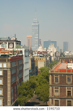 Mexico city with Latinamerica tower, Mexico - stock photo