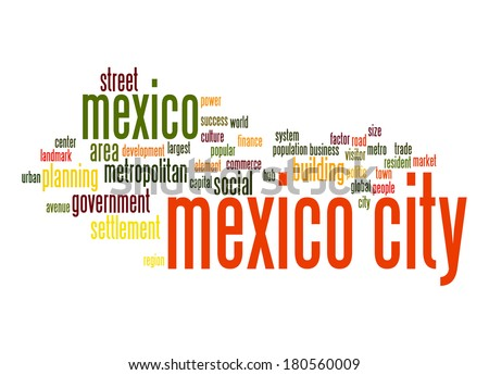 Mexico City word cloud - stock photo