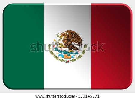 Mexico 3D button on white background