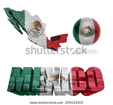 Mexico flag and map in different styles in different textures - stock photo