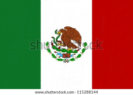 Mexico flag drawing by pastel on charcoal paper