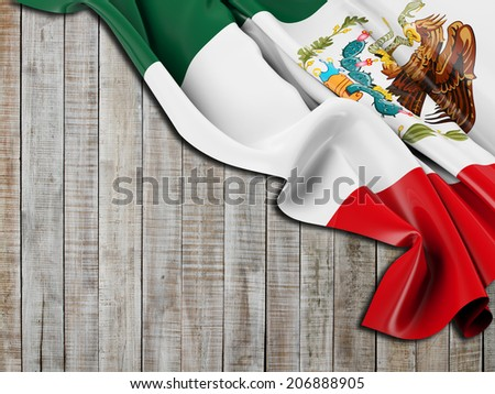 Mexico Flag folded with vertical wood - stock photo